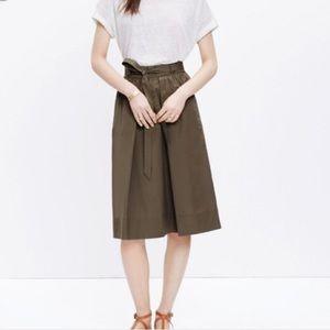 Madewell Olive Green Elastic Waist Midi Skirt